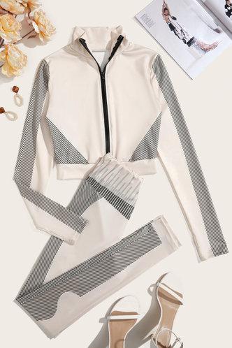 back_Estella Elsie Beige Activewear Set