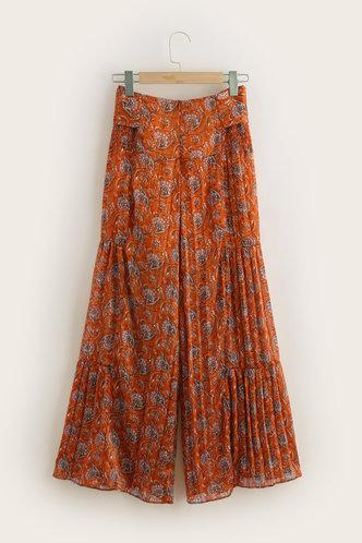 back_Ugo Burnt Orange Print Wide Leg Pants