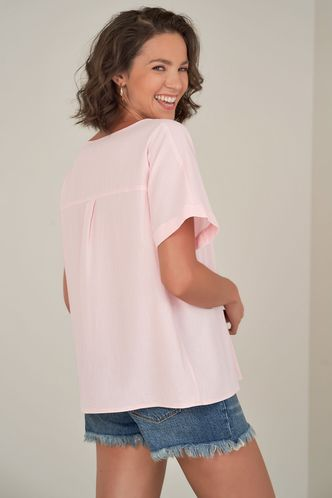 back_Say Something {Color} Short Sleeve Top