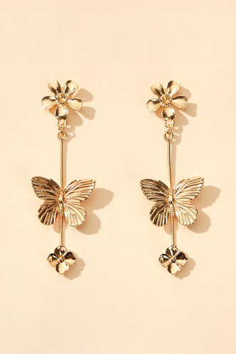 front_Anita Eleanore Gold Butterfly Charm Drop Earrings 1pair