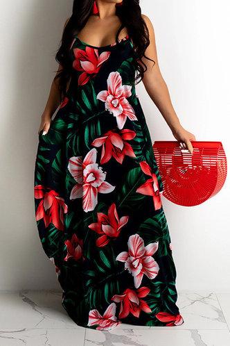front_Susannah Esther Red Floral Print Plus Size Dress