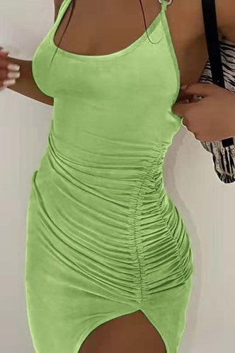 back_Helga Elma Green Halter Open Back Ruched Bodcon Dress