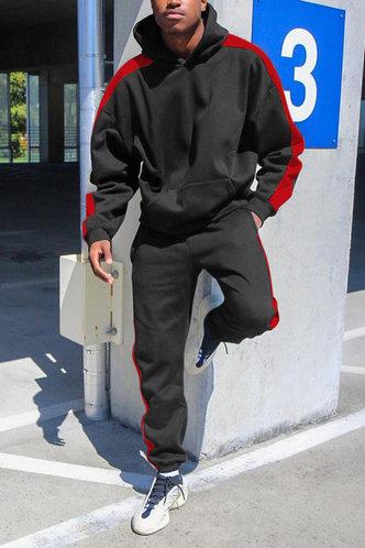 front_Casual Striped Black Men Pants Sets