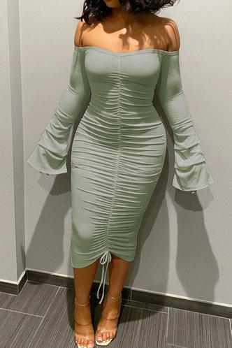 front_Sophie Ella Light Green Ruched Rib Knit Dress