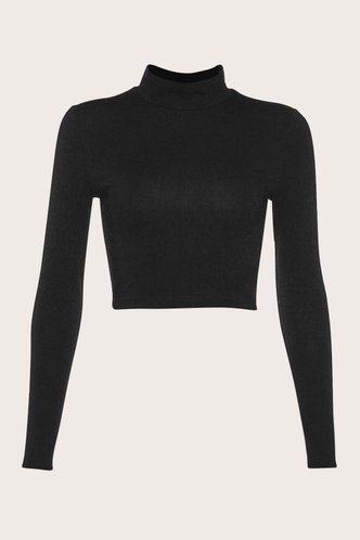 back_Canace Black Lace-Up Crop Top