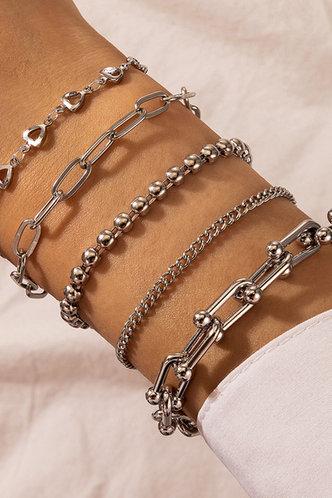 front_Anne Ella Sliver Chain Bracelet 5pcs