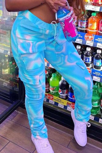 front_High Waist Tie Dye  Blue Sweatpants