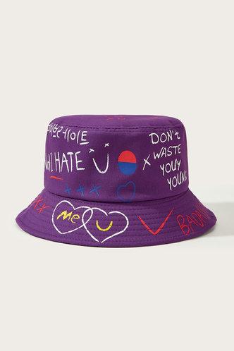 front_Jamie Eden Purple Letter Print Bucket Hat