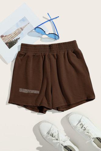 back_High Waist Straight Leg Brown Shorts