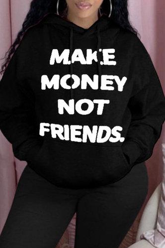 back_Street Oversized Black Plus Size Sweatshirts & Hoodies