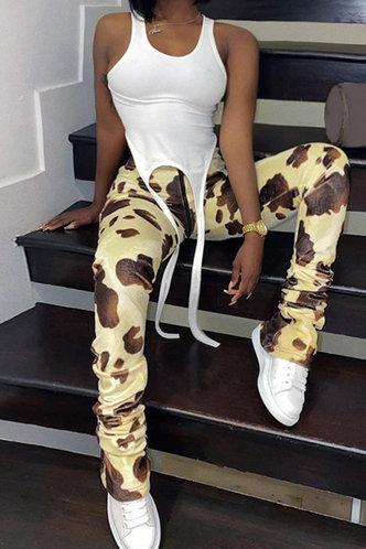 front_Gayle Elsie Brown Cow Print Pants