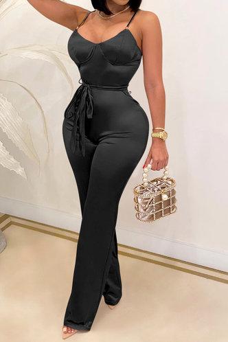 front_Rebekah Elva Black Jumpsuit