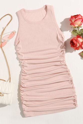 back_Carmelita Pink Ruched Dress