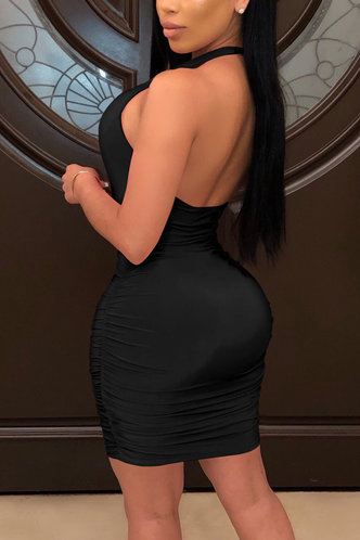 back_Sherry Edwina Black Lace Up Ruched Bodycon Dress