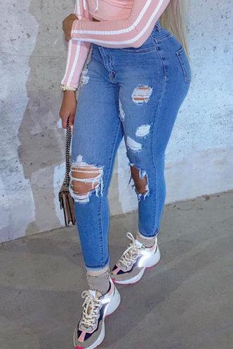 back_Mid Waist Plain Skinny Wash Blue Women Jeans