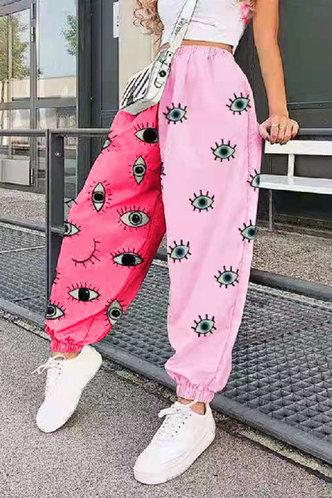 front_Winnie Elsa Pink Cartoon Eye Print Sweatpants