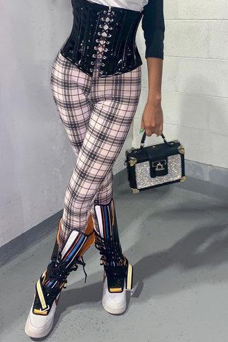 front_Mid Waist Plaid Pencil Pants Black And Beige Leggings