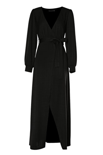 front_After Hours Black Wrap Dress