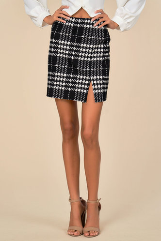 back_Checked Out Black Plaid Skirt