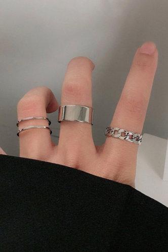 front_Modesty Edwina Sliver Metal Ring 3pcs