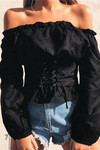 front_Off-the-Shoulder Solid Color Shirred Regular sleeve Black Blouses