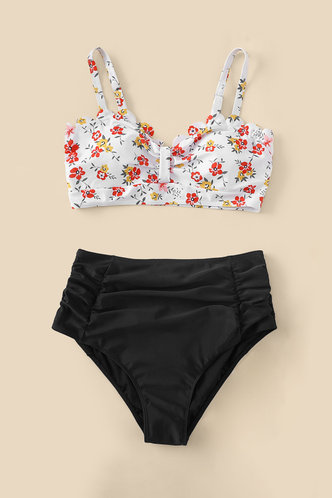 back_Dotty Eden Black And White Floral Print Plus Bikini