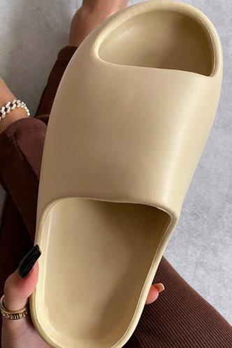 back_Flat Open Toe Beige Slides & Flip Flops