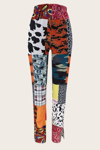back_Low Waist   Long Conventional No special process Colorblock Pants