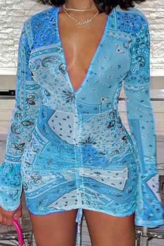 front_Estelle Elma Blue Multi Print Tie Front Bodycon Dress