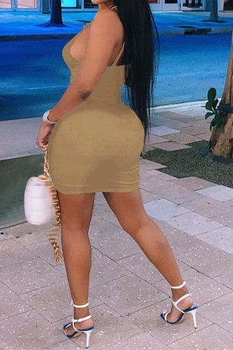 back_Fannie Erica Khaki Drawstring Front Ruched Dress