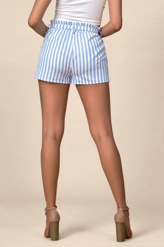 back_Harbor Point White And Blue Striped Shorts