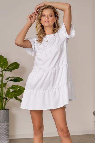 front_Daily Short Sleeve Boat Neck Regular Sleeve White Plain Dresses