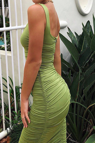 back_Norene Elma Green Bodycon Ruched Dress
