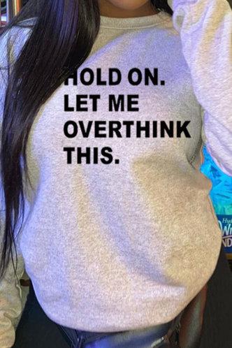 front_Vacation Street Crew Neck Letter Print Light Grey Sweatshirts & Hoodies