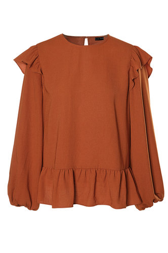 front_First Off Rust Red Long Sleeve Top
