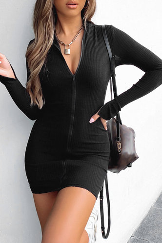 front_Lea Black Zip-Up Dress
