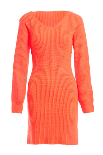 front_Winter Wonderland Neon Orange Sweater Dress
