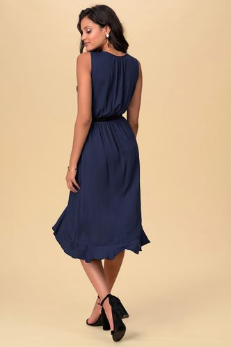 back_Whispers Dark Navy Midi Dress