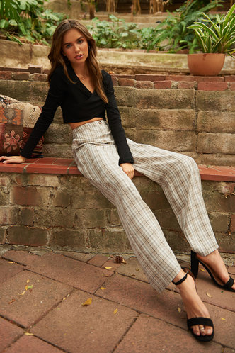 front_Cropped Cutie White And Tan Plaid Tartan Pants