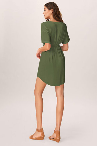 back_Solitude Army Green Mini Dress