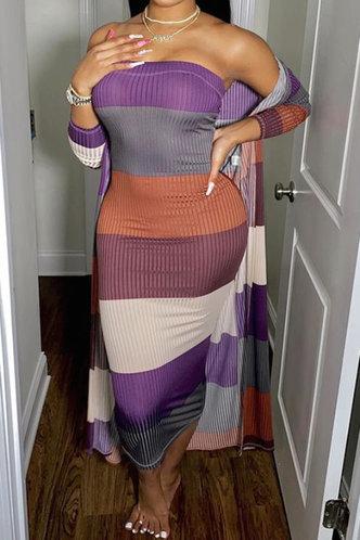 front_Cheryl Maksipes Colorblock Plus Rib Knit Tube Bodycon Dress Without Cardigon