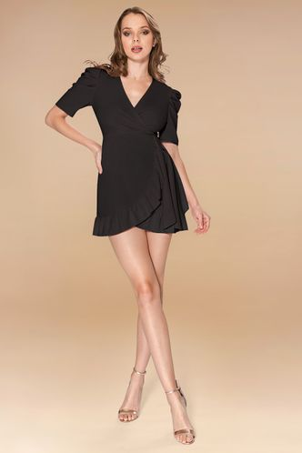 front_By Your Side Black Mini Dress