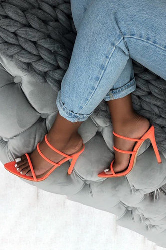 front_Isis Elva Orange Heeled Sandals
