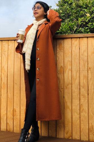 front_Burnt Orange Brown Trench Coat