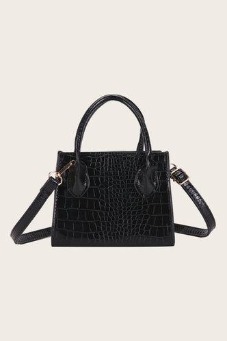 front_Eunice Elsie Black Satchel Bag