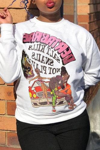 back_Vacation Street Crew Neck Graphic Print White Sweatshirts & Hoodies