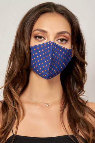 front_Non-medical Pattern Cotton Reusable Face Mask Royal Blue