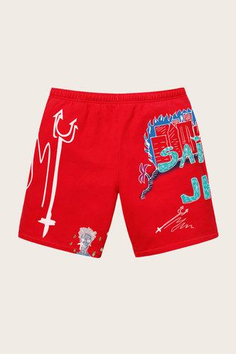back_Nona Elsie Red Multi Print Shorts