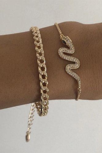 front_Leona Emily Gold Snake Decor Bracelet 2pcs
