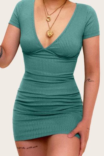front_Gemma Geralan Olive Green Bodycon Dress
